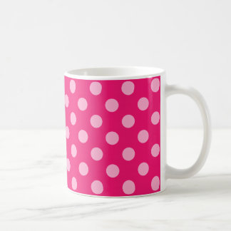 Large retro dots - pink on a hot pink background coffee mugs