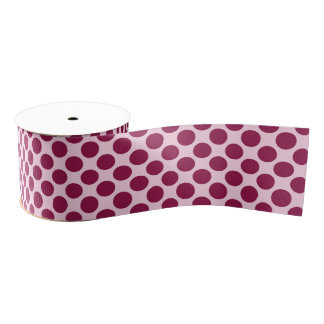 Large retro dots - shell pink and burgundy grosgrain ribbon