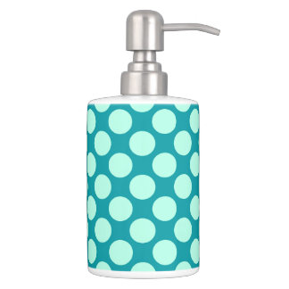 Large retro dots - turquoise and aqua soap dispenser and toothbrush holder
