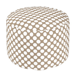 Large retro dots - white and taupe tan pouf