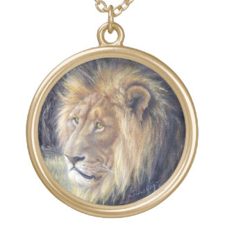 Large Round Goldtone Lion Necklace