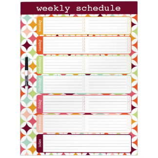 Large Star Burst Weekly Schedule Dry Erase Board