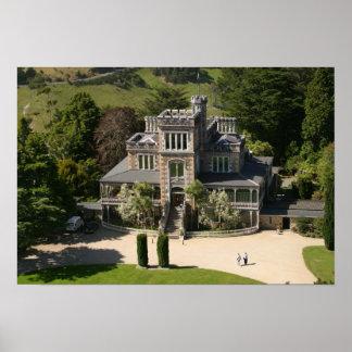 Larnach Castle, Dunedin, New Zealand - aerial Poster