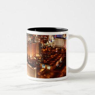 Las Vegas aerial view from a blimp Two-Tone Coffee Mug