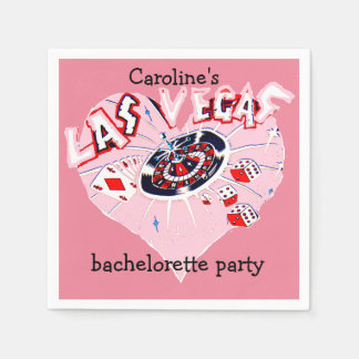 Las Vegas Bachelorette Girly Pink Heart Disposable Serviettes