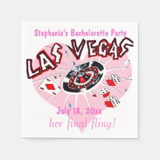 Las Vegas Bachelorette Pink Heart Disposable Napkin