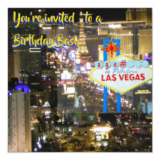 Las Vegas Birthday Bash any age on welcome sign Card