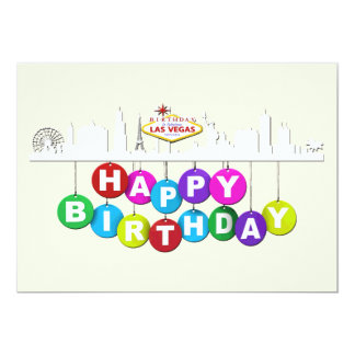 "Las Vegas Birthday Matte 5"" x 7"",  Invitations"