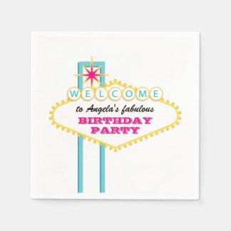 Las Vegas Birthday Party Pink Sign Disposable Serviettes