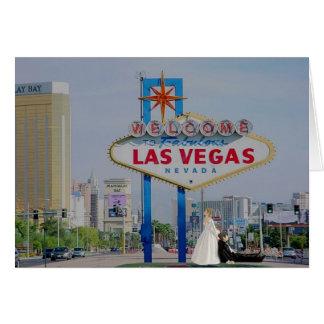 Las Vegas Bride dragging Groom Wedding Card