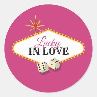 Las Vegas Marquee Wedding in Magenta Classic Round Sticker
