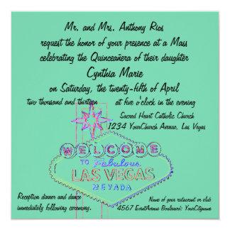 Las Vegas Quinceanera Pastel Art 13 Cm X 13 Cm Square Invitation Card