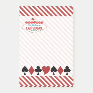 Las Vegas Sign Hearts Clubs Spades Diamonds Post-it Notes