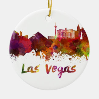 Las Vegas skyline in watercolor Christmas Ornament