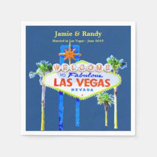 Las Vegas Wedding Blue Personalized Disposable Serviette
