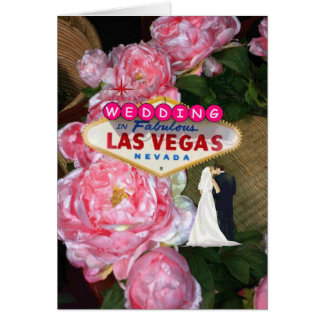 Las Vegas Wedding Pink Roses bride & groom Card