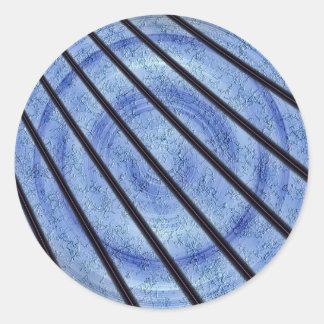 LASER BLUE FRACTAL CLASSIC ROUND STICKER