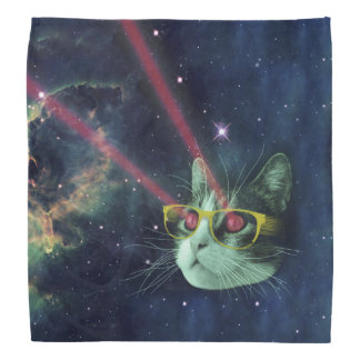 Laser cat with glasses in space do-rags