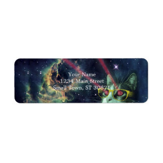 Laser cat with glasses in space return address label