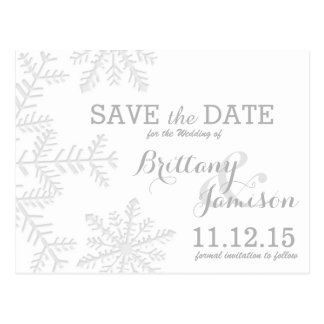 Laser-Cut Silver Snowflakes Winter Save the Date Postcard