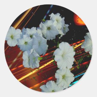 laser flower round sticker