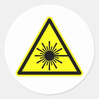 Laser Radiation Sign Classic Round Sticker