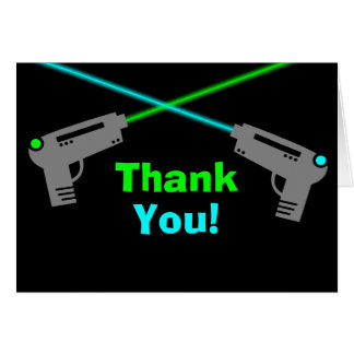 Laser Tag Blue Green Thank You Note Card