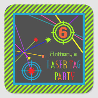 Laser Tag Party Birthday Stickers