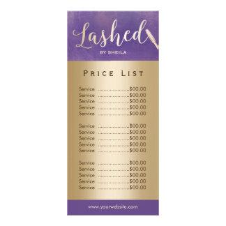 Lashed Makeup Artist Purple & Gold Price List Rack Card