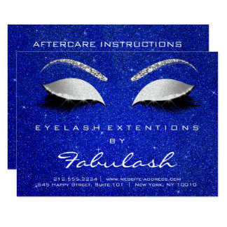 Lashes Extension Aftercare Instruction Gray Blue Card