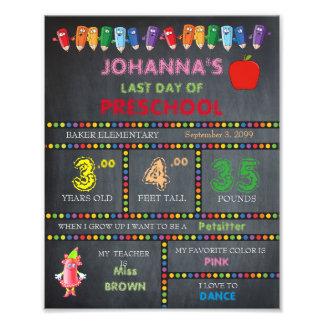 Last Day of Preschool Sign Girl,low price,8x10 Photo