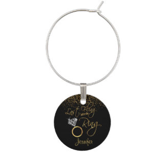 Last Fling Before the Ring - Gold Wine Charm