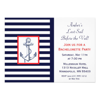 Last Sail Before the Veil Bachelorette Invitaiton Cards