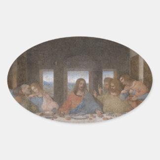 Last Supper  Leonardo da Vinci's late 1490s mural Oval Sticker