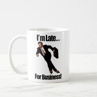 Late For Business Rollerblade Skater Meme Basic White Mug