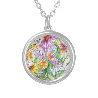 LATE SUMMER FLOWERS SILVER PLATED NECKLACE