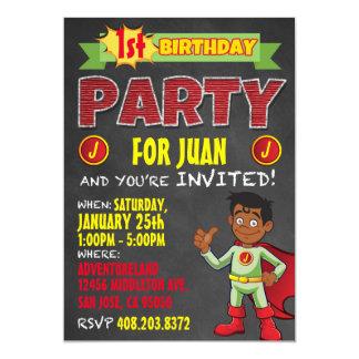 Latino Superhero Invitations. Kid Birthday Party Card