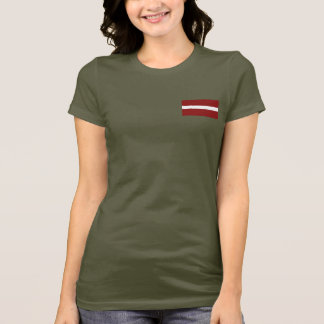 Latvia Flag and Map dk T-Shirt
