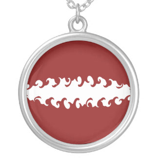 Latvia Gnarly Flag Round Pendant Necklace