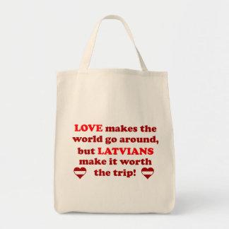 Latvian Love Grocery Tote Bag