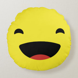Laugh Out Loud Emoji / Smiley Round Cushion