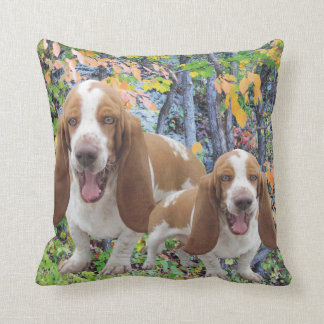 Laughing Basset Hounds Cushion