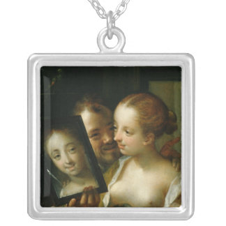 Laughing Couple with a mirror, 1596 Silver Plated Necklace