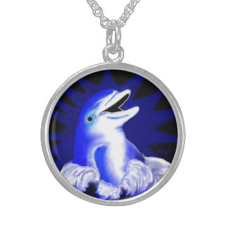 Laughing dolphin sterling silver necklace