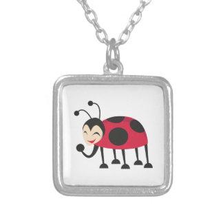 Laughing Ladybug Square Pendant Necklace