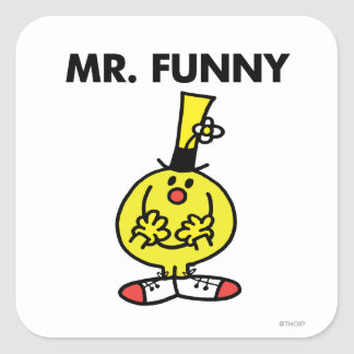 Laughing Mr. Funny With Flower Square Sticker