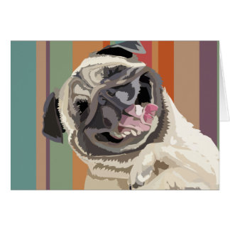 Laughing Pug personalizable greeting card