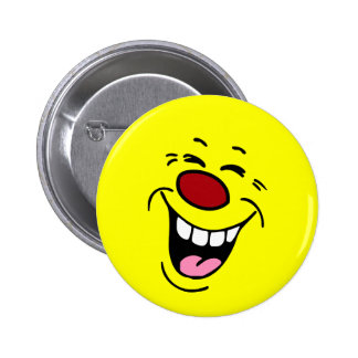 Laughing Smiley Face Grumpey 6 Cm Round Badge