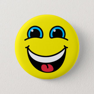 Laughing Smiley Face Yellow 6 Cm Round Badge