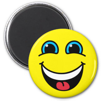 Laughing Smiley Face Yellow 6 Cm Round Magnet